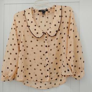 Sheer polkadot peterpan collar blouse